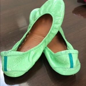 Gently worn patent mint colored Tieks size 10